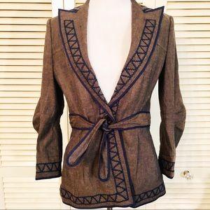 BCBGMAXAZRIA | Embroidered Belted Blazer